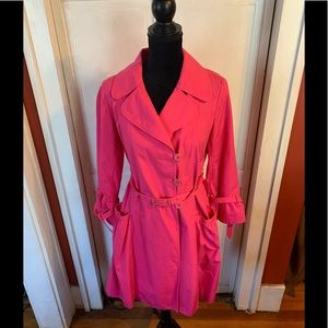 Lily Pulitzer Hot Pink Trench Rain Coat 8